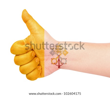 Vatican City flag on thumb up gesture like icon - stock photo