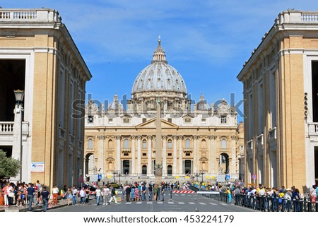 VATICAN CITY - JUNE 19 2016: St. Peter's Basilica is one of the largest churches in the world and was completed in 1626.