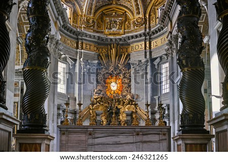 VATICAN CITY, ROME- 3 NOV 2014 : Interior of St Peters Basilica one of the holiest Catholic in Vatican City. St. Peters is the most famous of Renaissance architecture in Europe. - stock photo