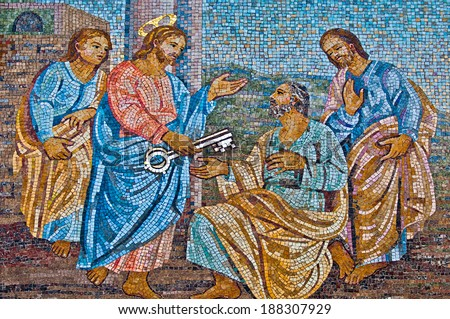 VATICAN CITY - SEPTEMBER 21: Christ giving the keys to Saint Peter mosaic in the St. Peter's Basilica on September 21, 2013 in Vatican City, Italy.  - stock photo