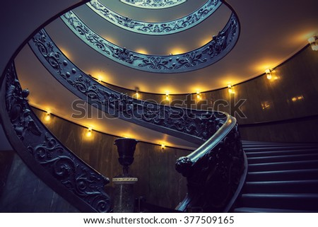 VATICAN CITY - SEPTEMBER 23, 2015: Spiral Staircase in Vatican Museum - stock photo