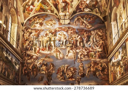 VATICAN CITY - SEPTEMBER 27: the magnificent Universla Judgement inside the Sistine Chapel on September 27, 2014 in Vatican City - stock photo