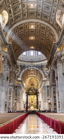 VATICAN CITY STATE - APRIL 1, 2015: Visitors inside of St. Peter's Basilica - stock photo
