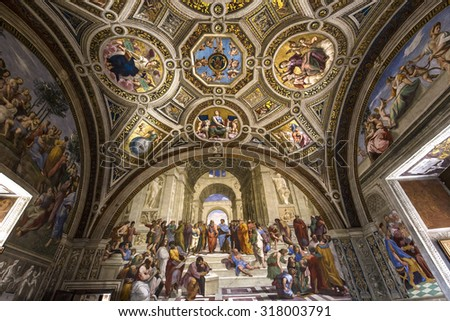 VATICAN CITY, VATICAN, JUNE 12, 2015 : interiors and architectural details of Raphael rooms in Vatican museum, june 12, 2015, in Vatican city, Vatican