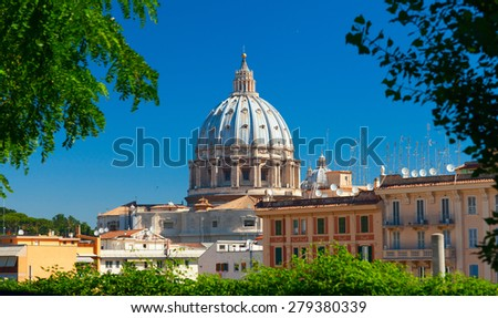 VATICAN CITY, VATICAN - JUNE 2012: St.Peter's Basilica. Late Renaissance church located within Vatican City. Construction of the present basilica began in April 1506 and was completed in November 1626 - stock photo