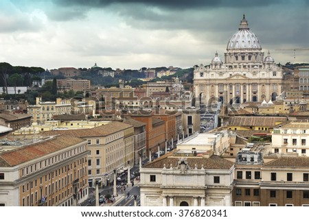 "Vatican City view of Saint Peter's Basilica and the ""path of reconciliation."" Rome Italy - stock photo"