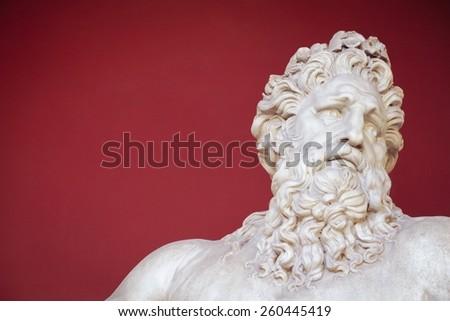 VATICAN - FEBRUARY 23, 2015: Ancient bust of Zeus in the  Vatican - stock photo