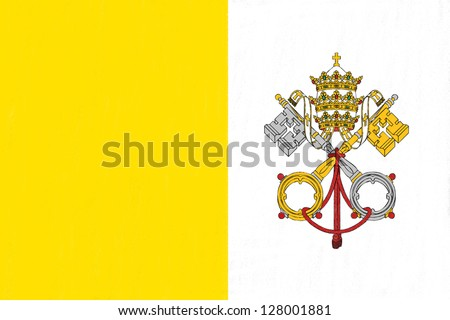 Vatican flag drawing by pastel on charcoal paper - stock photo