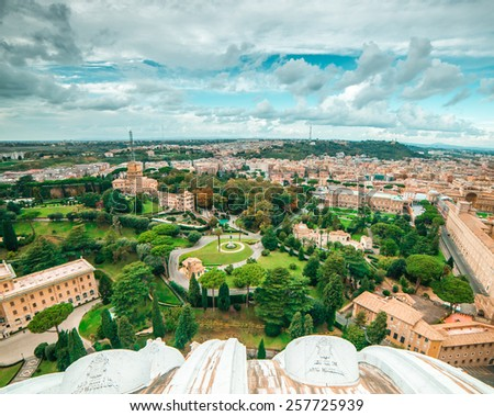 Vatican Gardens and aerial view of the city, Rome - stock photo