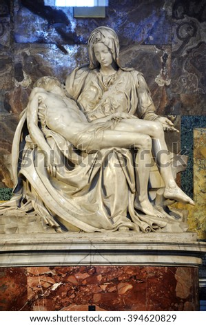 VATICAN, ITALY - MARCH 16, 2016: The famous sculpture of Pieta in the Saint Peter basilica was made by Michelangelo and is visited daily by thousands of tourists