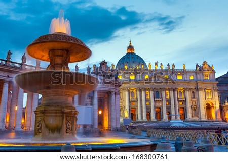 Vatican Italy Rome state of religion Christianity landmark,  St Peter cathedral at twilight - stock photo