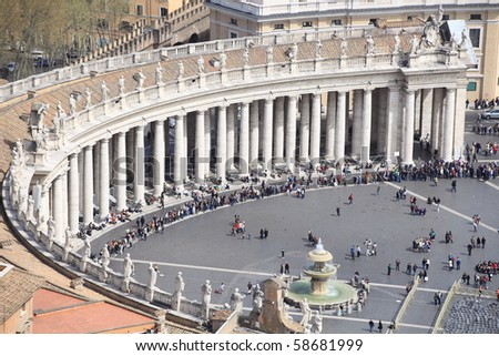 VATICAN - MARCH 31: crowds left Saint Peter's Square after Pope Benedict XVI's pre-easter mass on March 31, 2010 in Vatican. - stock photo