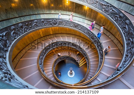 VATICAN - MAY 14, 2014: Double spiral stairs of the Vatican Museums - stock photo