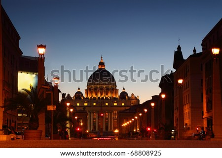 Vatican Museum in Basilica of St. Peter at night in Rome, Italy - stock photo