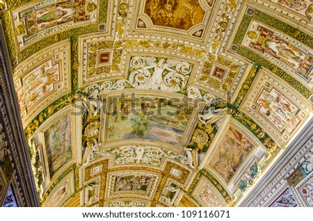 VATICAN - OCTOBER 14: Detail o the ceiling at Gallery of the Geographical Maps in Vatican Museum at October 14, 2011. There are maps of Italy, painted on the walls by friar Ignazio Danti of Perugia. - stock photo