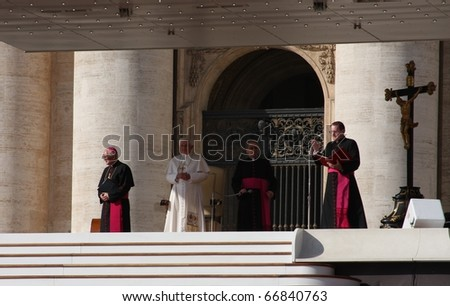 VATICAN - OCTOBER 22: Pope Benedict XVI blesses people at Saint Peter's square October 22, 2008 in Vatican.