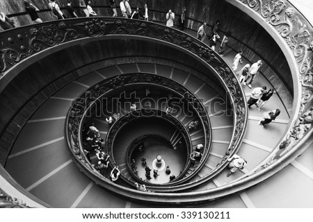 VATICAN - SEPTEMBER 23, 2015: Spiral Stairs of the Vatican Museums in Vatican, Italy. - stock photo