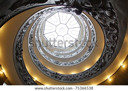 Vatican spiral staircase with beautiful rails - stock photo
