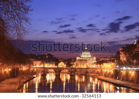 Vatican viewed from Rome - stock photo
