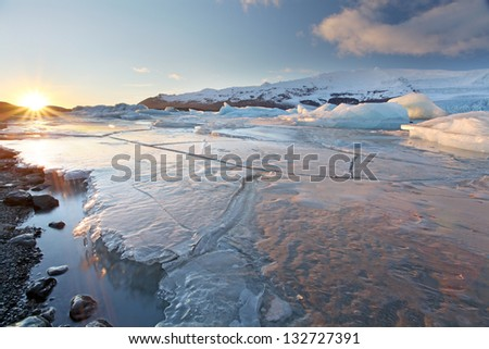 vatnajokull Glacier Iceland - stock photo