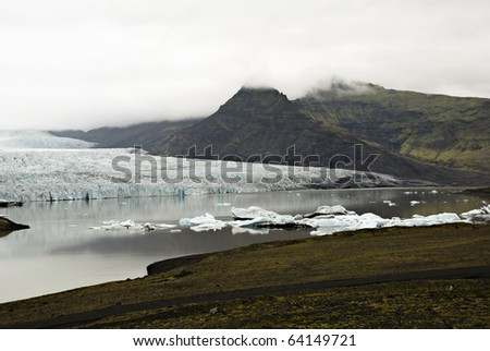 Vatnajokull glacier is melting in water, Iceland