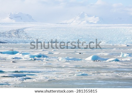 Vatnajokull Glacier Jokulsarlon lagoon Iceland - stock photo