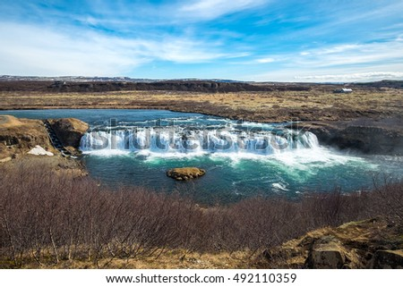 Vatnsleysufoss or Faxi waterfall  is located on the Golden Circle, a popular tourist trail east of Reykjavik, Iceland