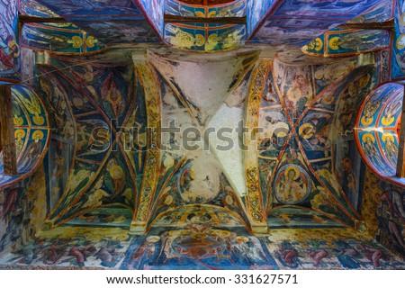 Vatra Moldovitei, Romania, July 06, 2015: Moldovita Monastery, one of the famous painted monasteries in Romania, Unesco Heritage, Romania - stock photo