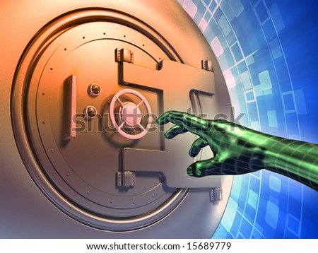Vault door forcing to access protected data. Digital illustration. - stock photo
