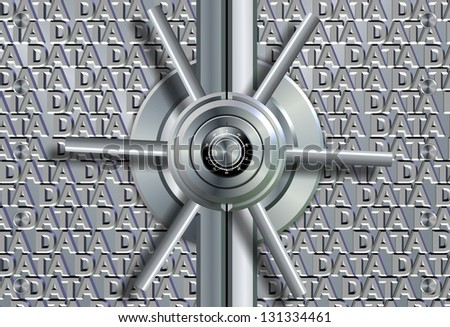 Vault lock in front of group of words spelling data / Data security - stock photo