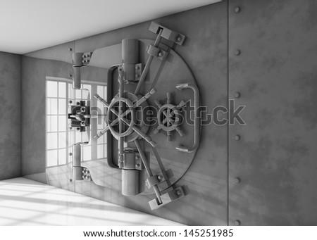 Vault locked - stock photo
