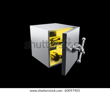 vault with gold ingots - stock photo