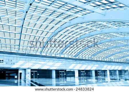 vaulted hall in the beijing airfield of subway station - stock photo