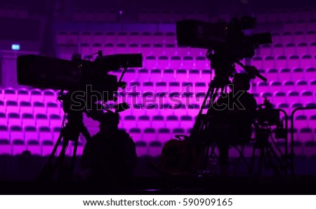VAXJO, SWEDEN - FEBRUARY 16, 2017: Television cameras at the third semi-final of Melodifestivalen 2017 in Vaxjo.