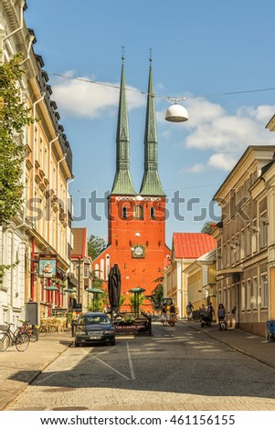 VAXJO, SWEDEN - 25 JULY 2016: The lofty copper clad twin spires of Vaxjo cathedral gives the city a very special profile. The cathedral dates back to the late 12th century.