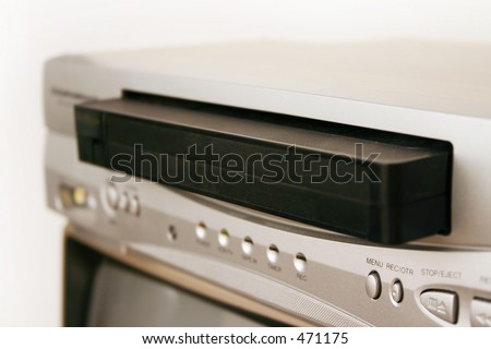 VCR with cassette tape - stock photo