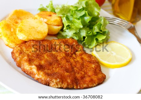 Veal Cutlet- Schnitzel - with Lettuce