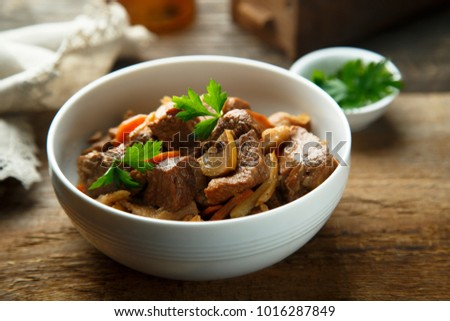 Veal stew with quince and vegetables
