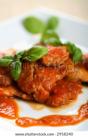 Veal with dressing and herbs