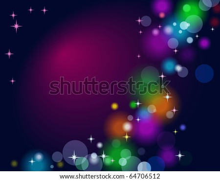 Vector abstract background with lights and stars - stock photo