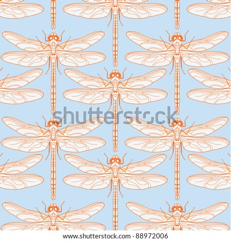vector background with dragonflies - stock photo