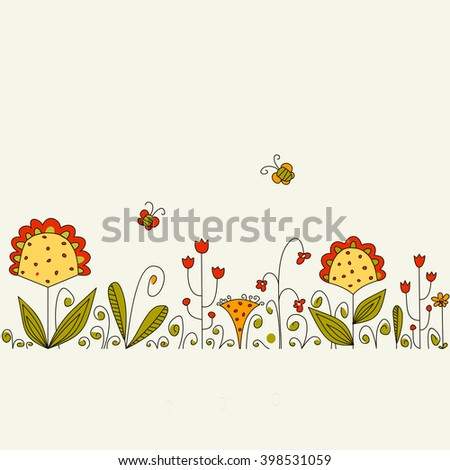Vector background with grass and flowers. Raster copy of vector file. - stock photo