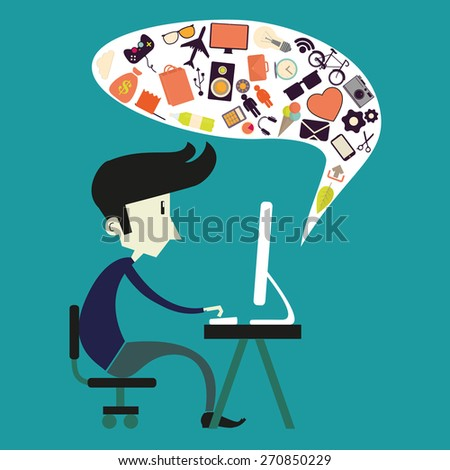 Vector boy sitting at computer in flat style  - stock photo
