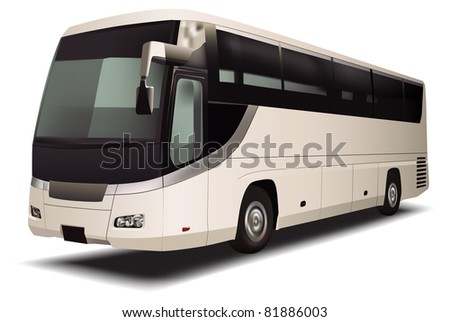 vector bus on white background - stock photo