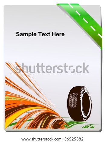 Vector car tire and place for your text. - stock photo
