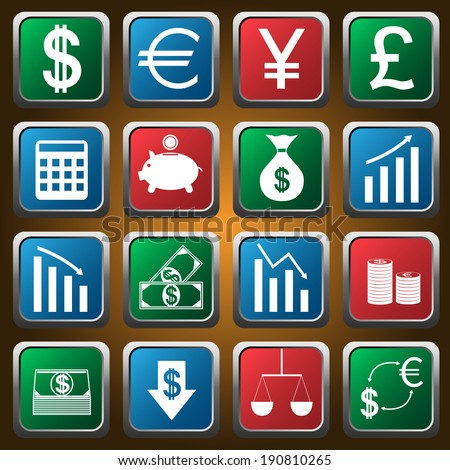 vector colored finance icons set. Raster illustration. - stock photo