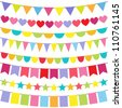 Vector colorful and bright bunting set. Raster version. - stock photo