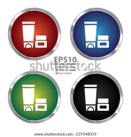 Vector : Colorful Circle Metallic Cosmetic Container Icon or Button Isolated on White Background  - stock photo