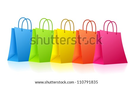 Vector colorful shopping bags  - raster version - stock photo