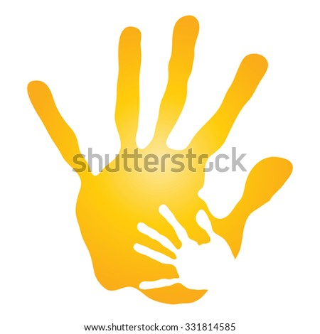 Vector concept human mother and child hand prints painted, isolated on white background for art, care, childhood, family, fun, happy, infant, symbol, kid, little, love, mom, motherhood, young design - stock photo